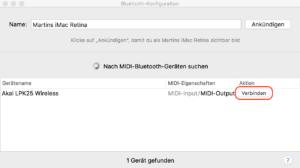 Bluetooth-MIDI-Keyboard an Mac anschließen
