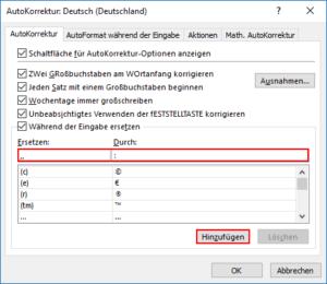 Excel Kommas mit Doppelpunkt ersetzen