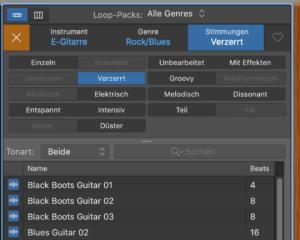 Garageband Loops filtern