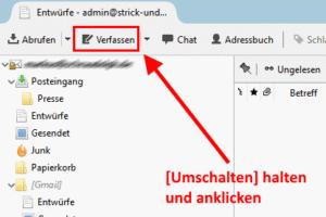 Schnell umschalten zwischen HTML-Mail und Textnachricht