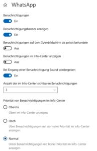 Windows-Benachrichtigungen - Optionen für eine App
