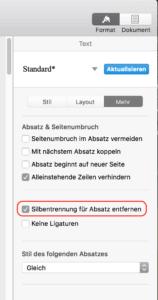 Apple Pages Silbentrennung aus Absatz entfernen