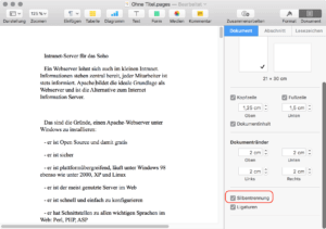 Silbentrennung in Apple Pages einschalten