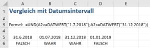 Excel Datum vergleichen mit Intervall