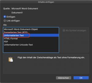 Word unformatiert einfügen Mac