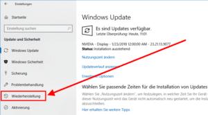 """Das Zurücksetzen von Windows geht über den Punkt """"Wiederherstellung""""."""