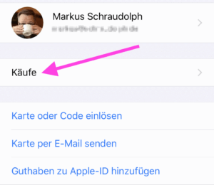 """gekaufte App zurückholen - das geht am iPhone über die Option """"Käufe"""""""