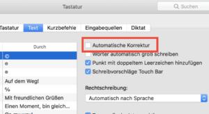 Mac Autokorrektur abschalten