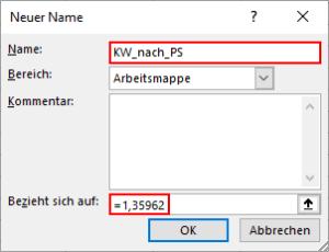 Excel-Konstante mit Namen anlegen