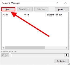 Der Namens-Manager von Excel