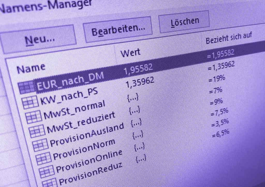 Excel: Unsichtbare Konstanten im Namens-Manager definieren ...