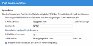 Fritzbox: E-Mail einrichten