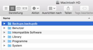 Backup-Ordner auf Systemfestplatte