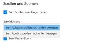 Scrollrichtung des Touchpad ändern