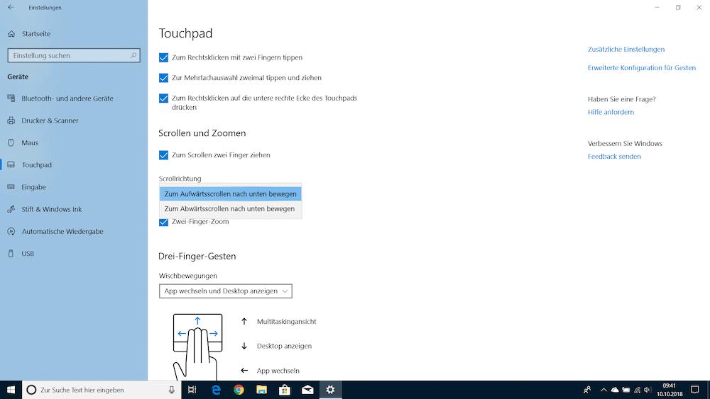 Touchpad Einstellungen in Windows