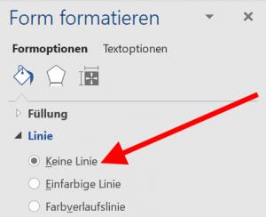 Word - Form formatieren - Keine Linie