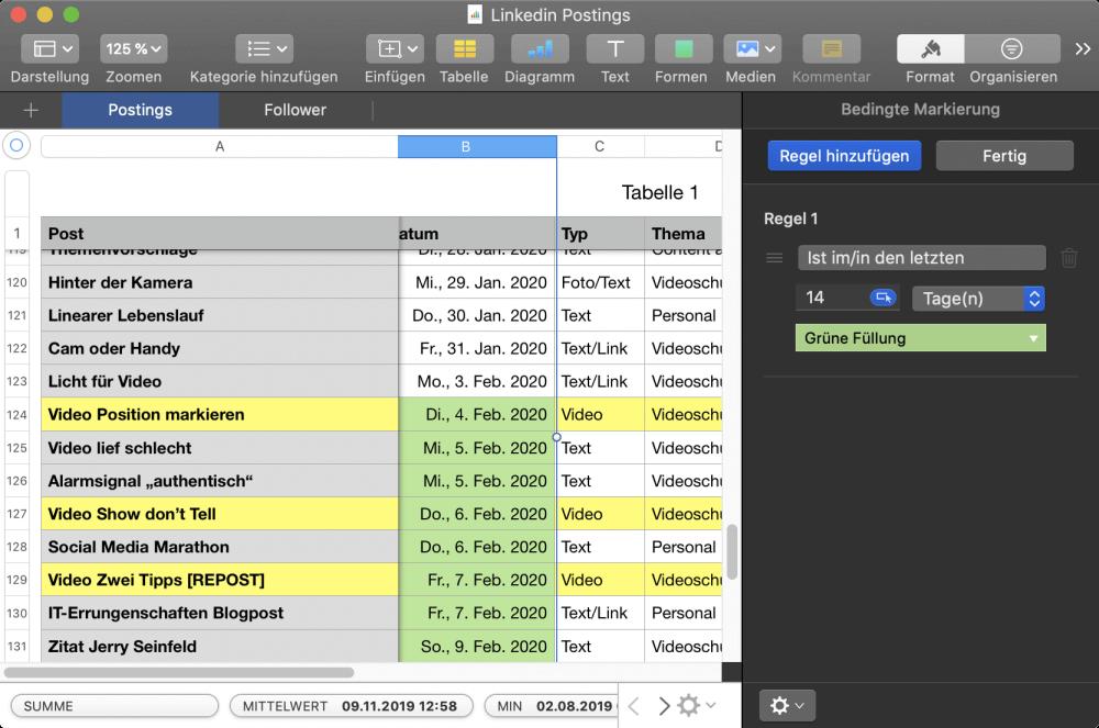 Bedingte Formatierung in Apple Numbers