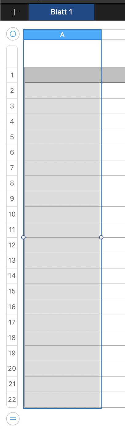 Apple Numbers erste Spalte markieren