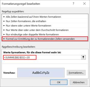 Formel für zeilenweise bedingte Formatierung